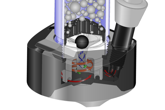 JET waterpipe cutaway illustration with percolation and smoke flow